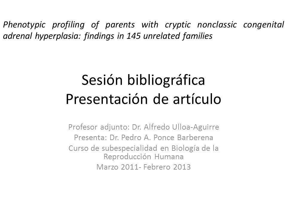 Sesión bibliográfica Presentación de artículo