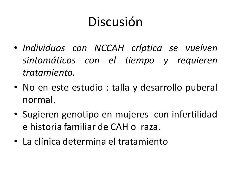 Discusión Individuos con NCCAH críptica se vuelven sintomáticos con el tiempo y requieren tratamiento.