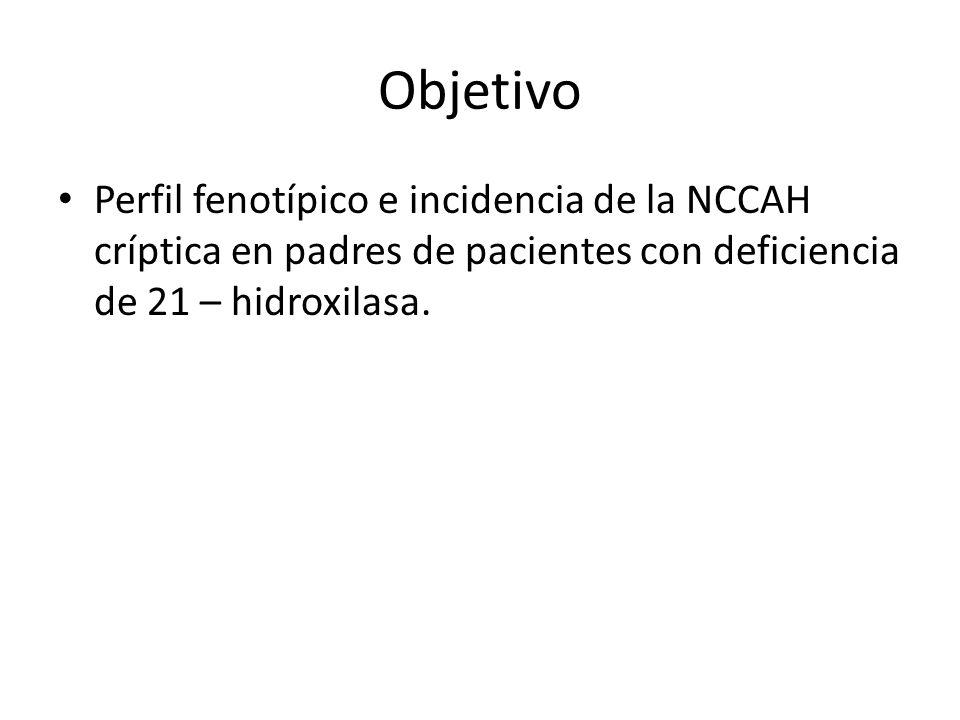 Objetivo Perfil fenotípico e incidencia de la NCCAH críptica en padres de pacientes con deficiencia de 21 – hidroxilasa.