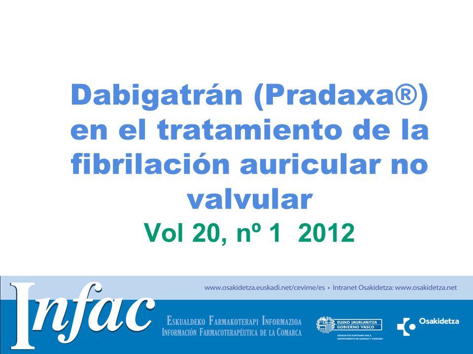 Dabigatrán (Pradaxa®) en el tratamiento de la fibrilación auricular no valvular Vol 20, nº 1 2012