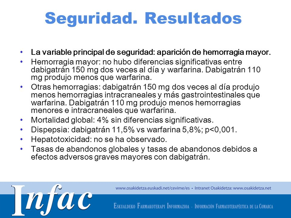 Seguridad. Resultados La variable principal de seguridad: aparición de hemorragia mayor.