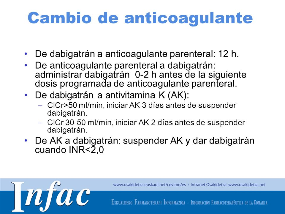 Cambio de anticoagulante