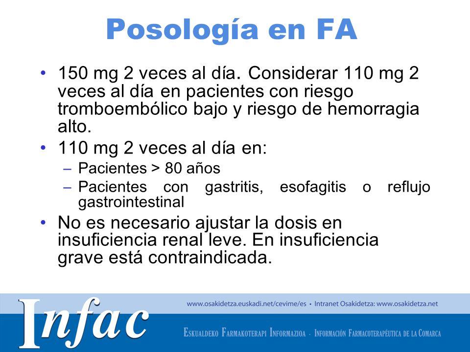 Posología en FA 150 mg 2 veces al día. Considerar 110 mg 2 veces al día en pacientes con riesgo tromboembólico bajo y riesgo de hemorragia alto.