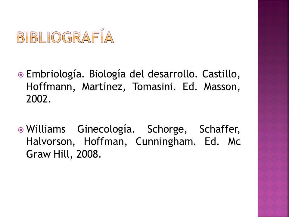 bibliografía Embriología. Biología del desarrollo. Castillo, Hoffmann, Martínez, Tomasini. Ed. Masson, 2002.