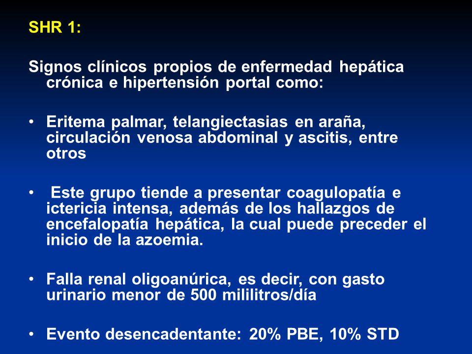 SHR 1: Signos clínicos propios de enfermedad hepática crónica e hipertensión portal como: