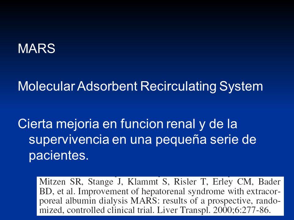 MARS Molecular Adsorbent Recirculating System Cierta mejoria en funcion renal y de la supervivencia en una pequeña serie de pacientes.