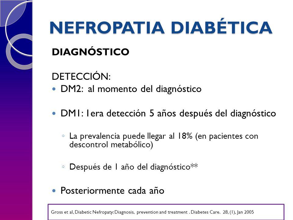 NEFROPATIA DIABÉTICA DIAGNÓSTICO DETECCIÓN: