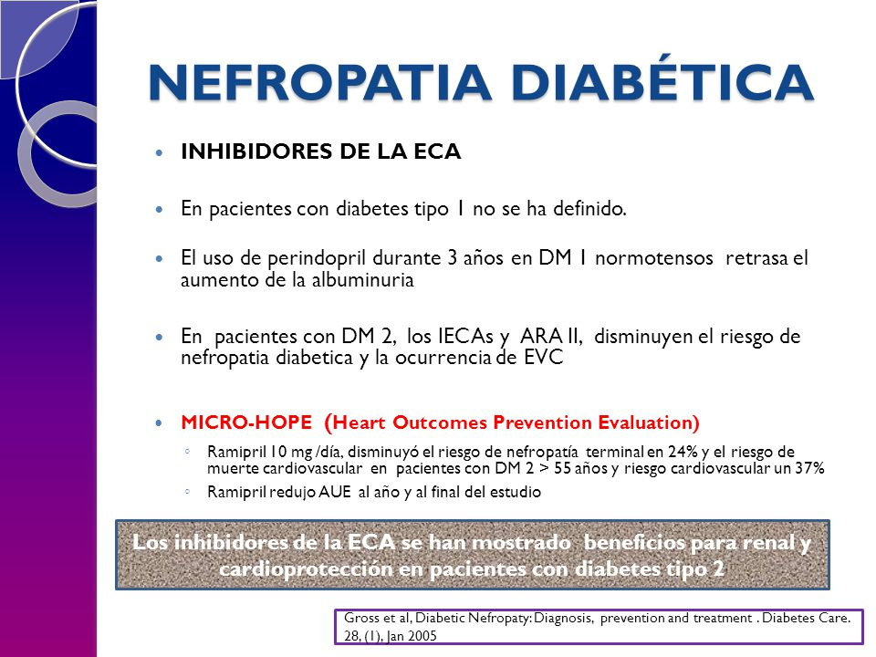 NEFROPATIA DIABÉTICA INHIBIDORES DE LA ECA