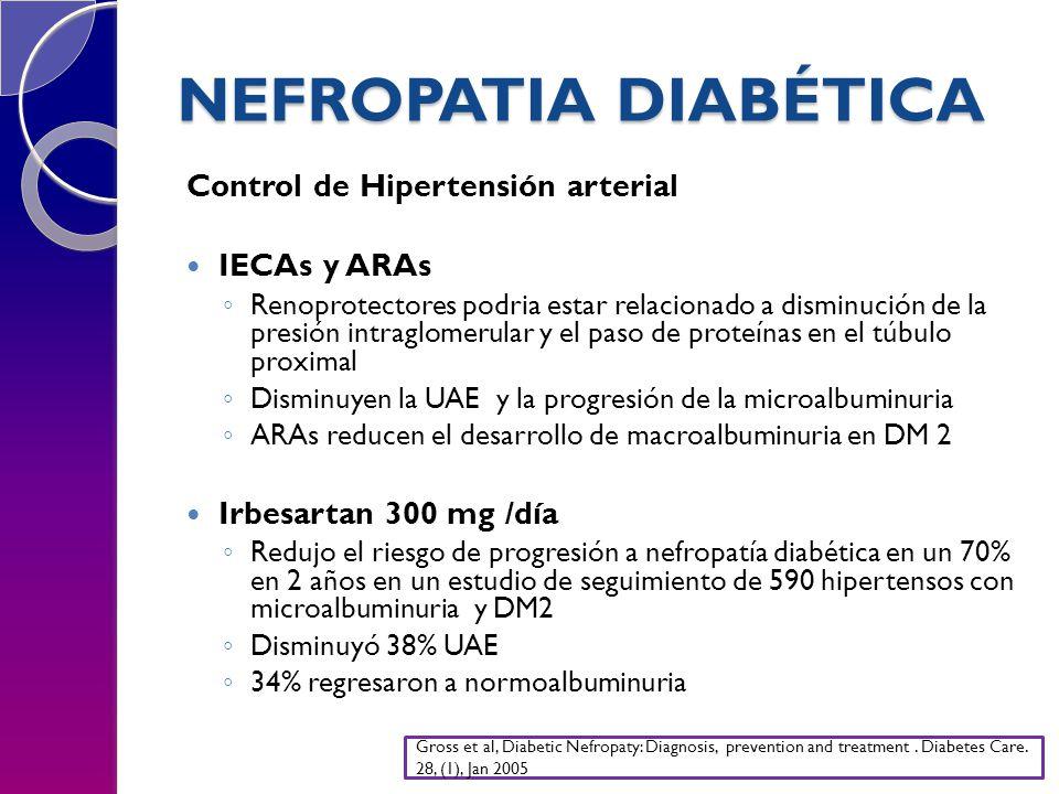 NEFROPATIA DIABÉTICA Control de Hipertensión arterial IECAs y ARAs