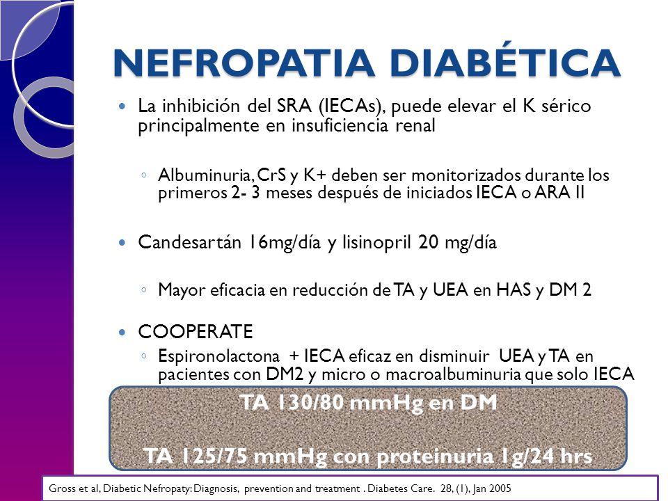 TA 125/75 mmHg con proteinuria 1g/24 hrs