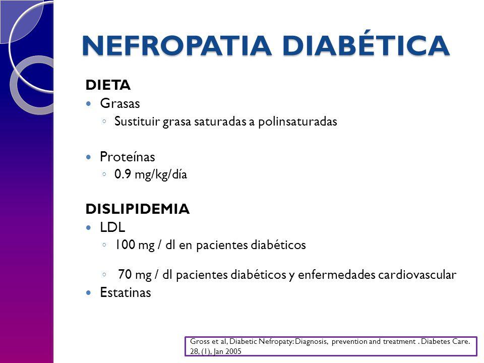 NEFROPATIA DIABÉTICA DIETA Grasas Proteínas DISLIPIDEMIA LDL Estatinas
