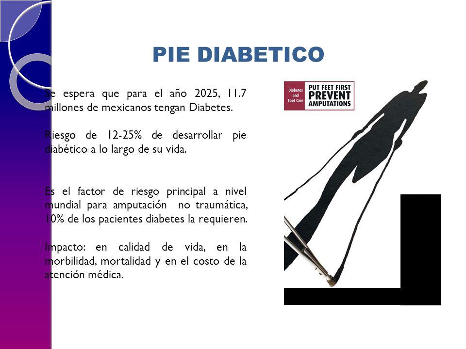 PIE DIABETICO Se espera que para el año 2025, 11.7 millones de mexicanos tengan Diabetes.