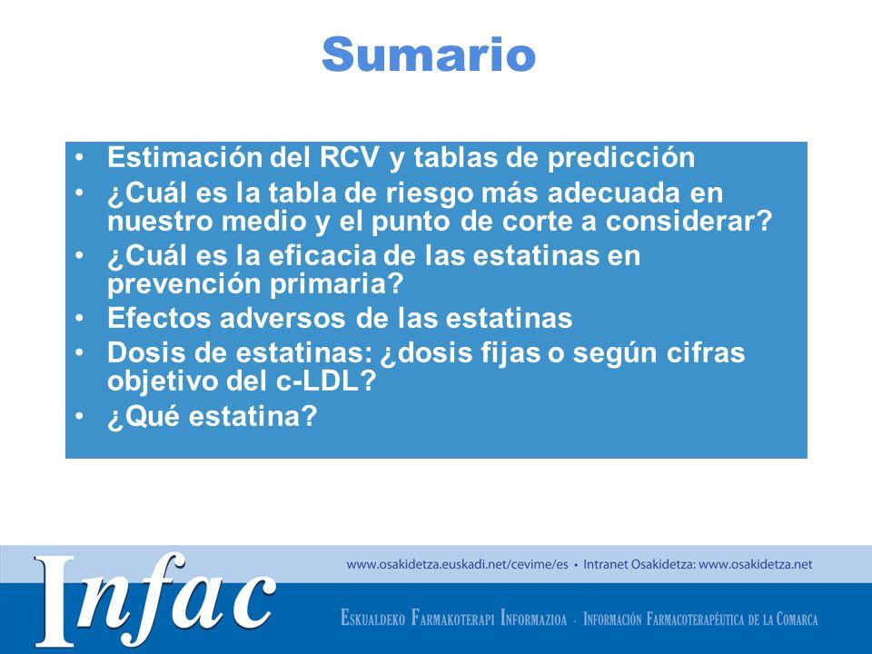 Sumario Estimación del RCV y tablas de predicción
