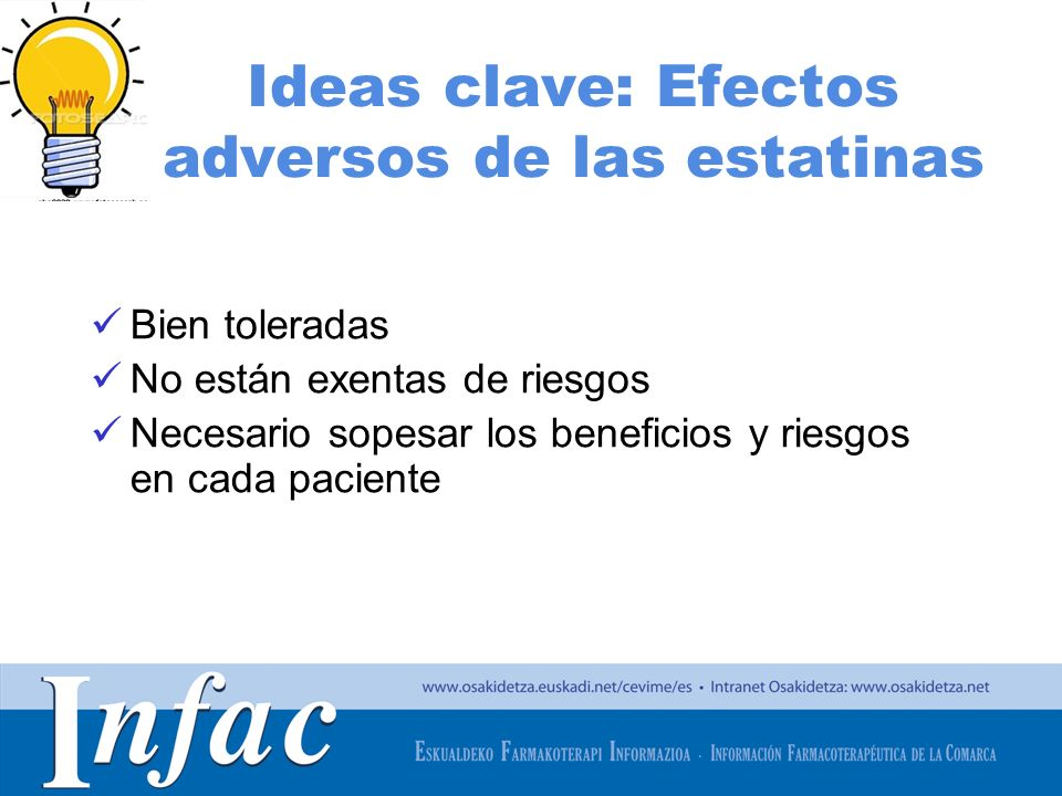 Ideas clave: Efectos adversos de las estatinas