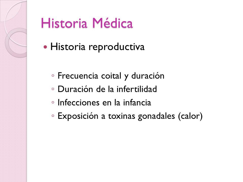 Historia Médica Historia reproductiva Frecuencia coital y duración