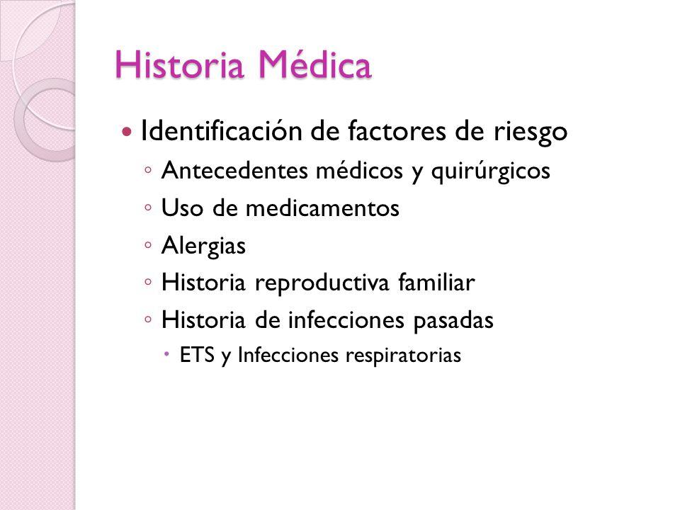 Historia Médica Identificación de factores de riesgo