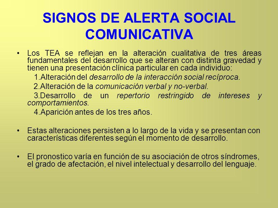 SIGNOS DE ALERTA SOCIAL COMUNICATIVA