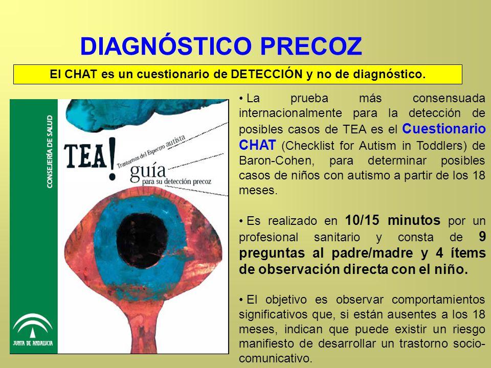 El CHAT es un cuestionario de DETECCIÓN y no de diagnóstico.