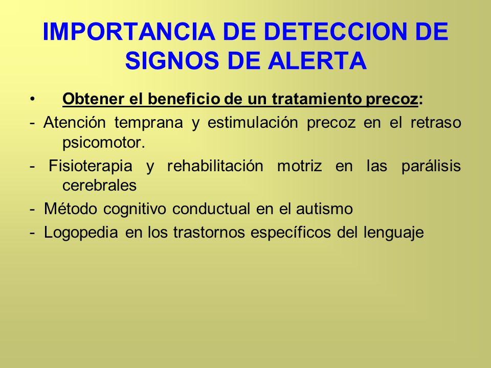 IMPORTANCIA DE DETECCION DE SIGNOS DE ALERTA