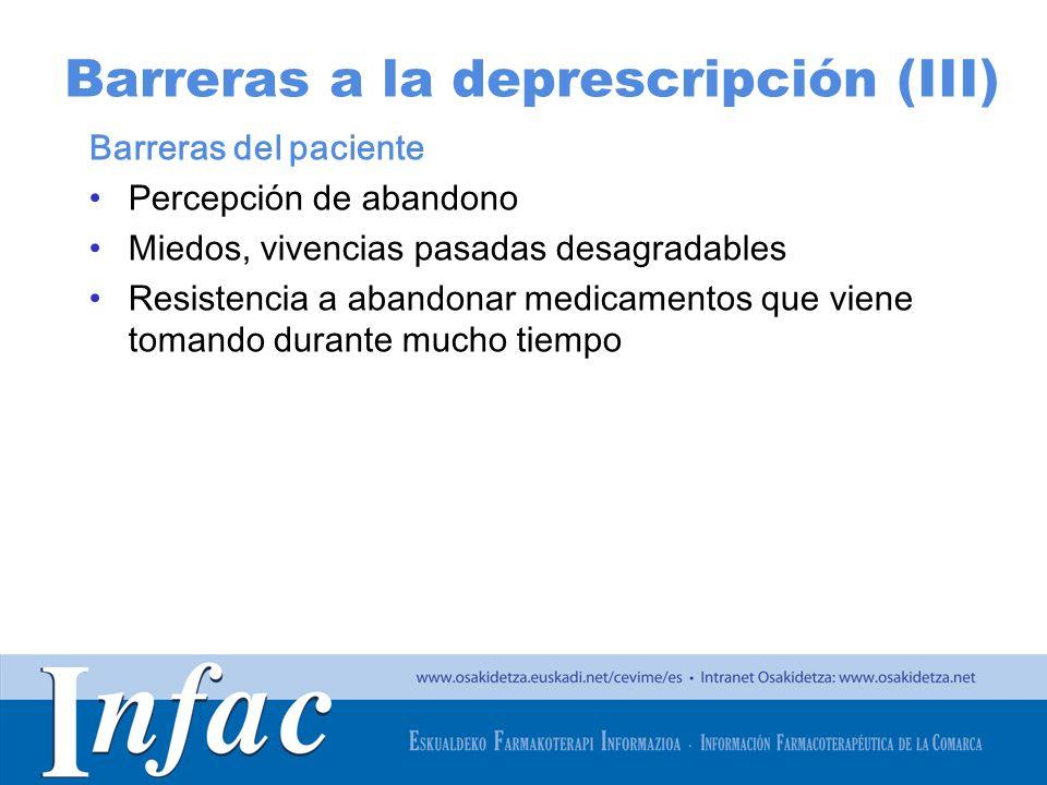 Barreras a la deprescripción (III)