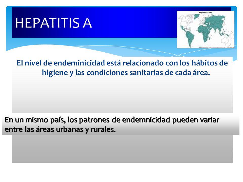HEPATITIS A El nível de endeminicidad está relacionado con los hábitos de higiene y las condiciones sanitarias de cada área.
