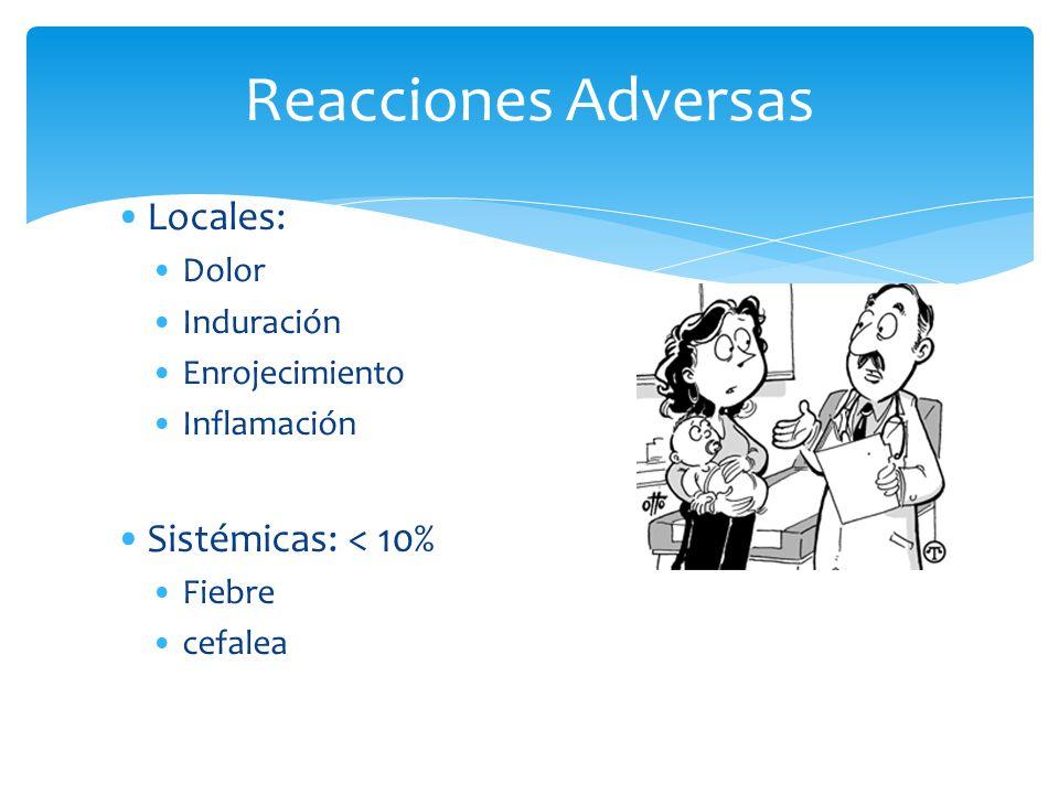 Reacciones Adversas Locales: Sistémicas: < 10% Dolor Induración