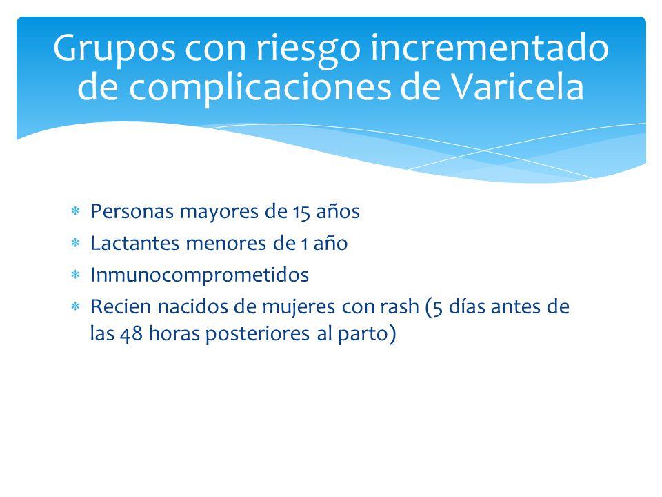 Grupos con riesgo incrementado de complicaciones de Varicela