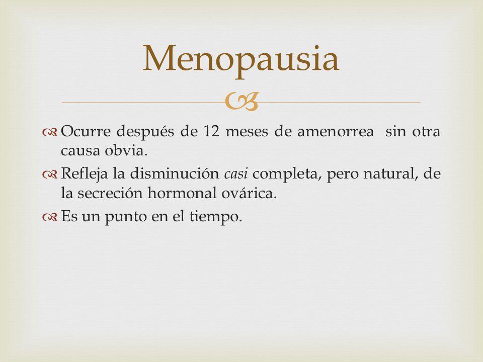Menopausia Ocurre después de 12 meses de amenorrea sin otra causa obvia.