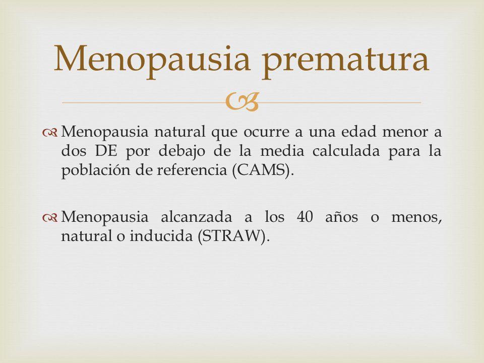 Menopausia prematura Menopausia natural que ocurre a una edad menor a dos DE por debajo de la media calculada para la población de referencia (CAMS).