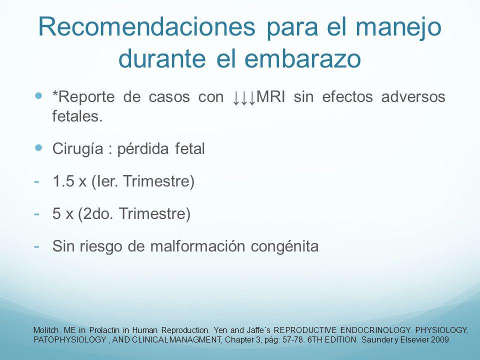 Recomendaciones para el manejo durante el embarazo