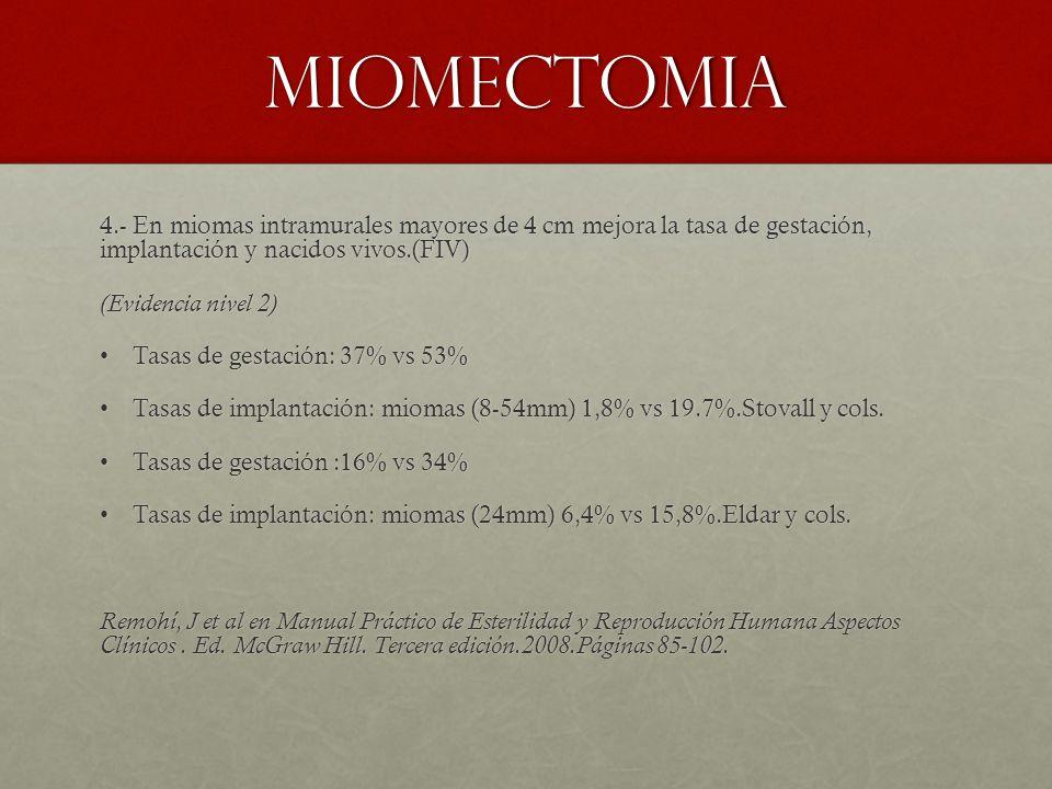 miomectomia 4.- En miomas intramurales mayores de 4 cm mejora la tasa de gestación, implantación y nacidos vivos.(FIV)