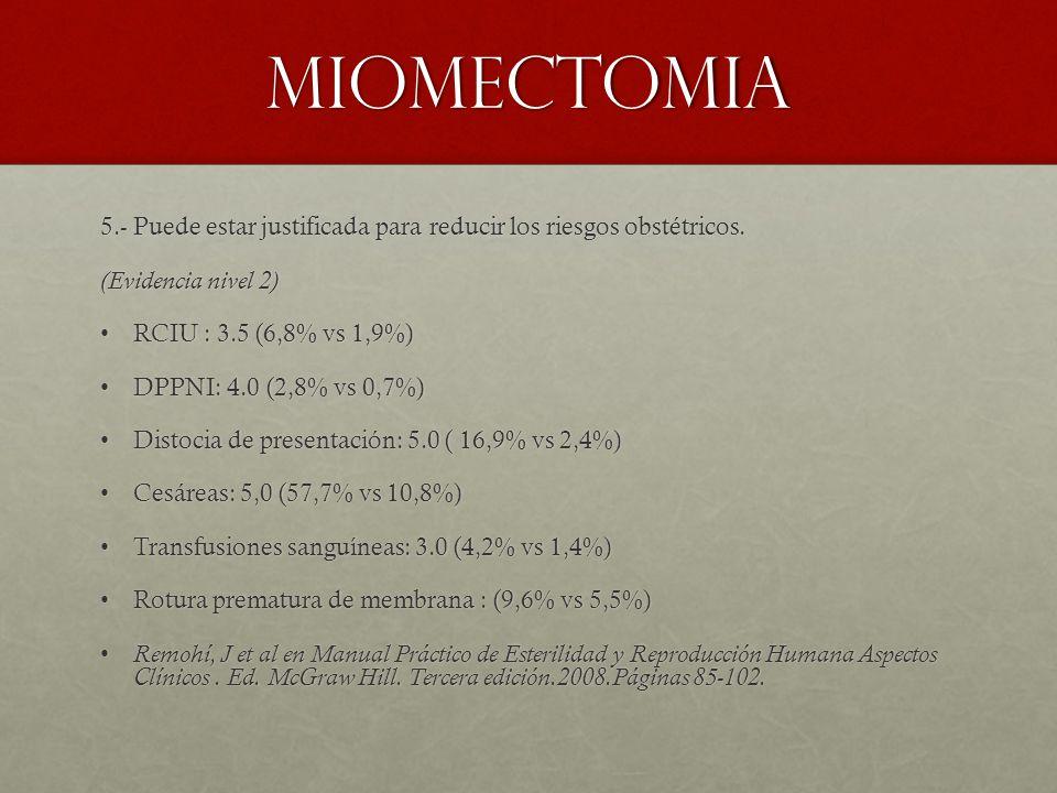 MIOMECTOMIA 5.- Puede estar justificada para reducir los riesgos obstétricos. (Evidencia nivel 2) RCIU : 3.5 (6,8% vs 1,9%)