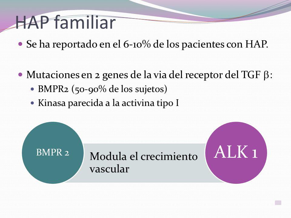 HAP familiar Se ha reportado en el 6-10% de los pacientes con HAP. Mutaciones en 2 genes de la via del receptor del TGF b: