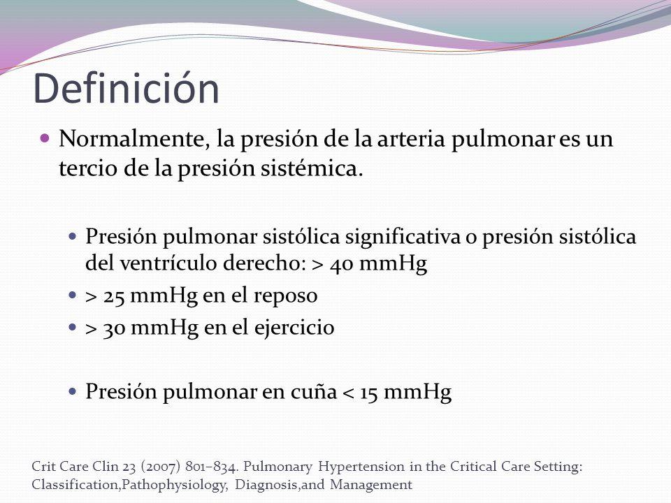 Definición Normalmente, la presión de la arteria pulmonar es un tercio de la presión sistémica.