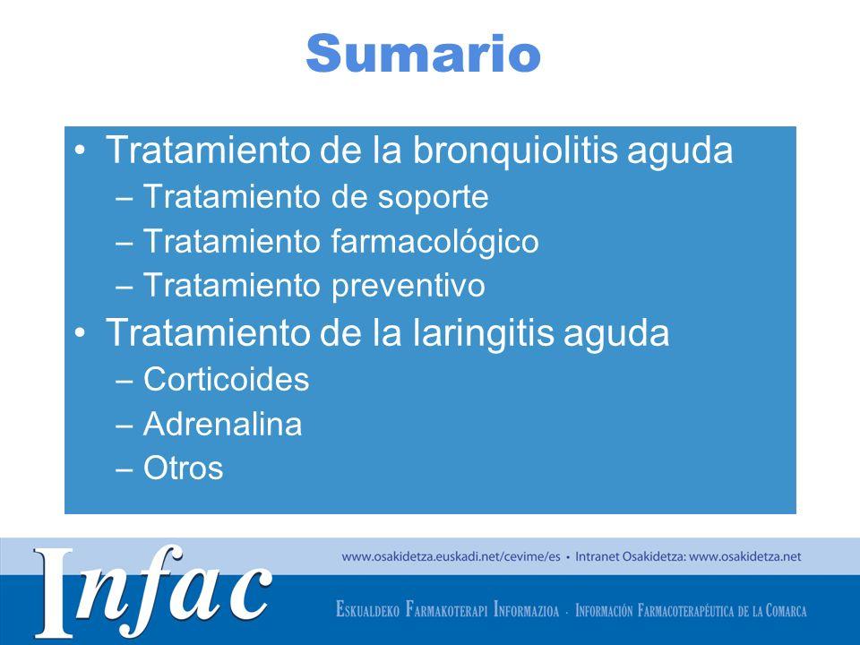 Sumario Tratamiento de la bronquiolitis aguda