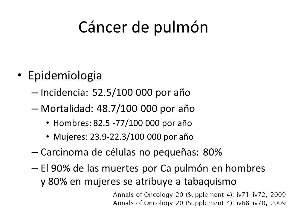 Cáncer de pulmón Epidemiologia Incidencia: 52.5/100 000 por año