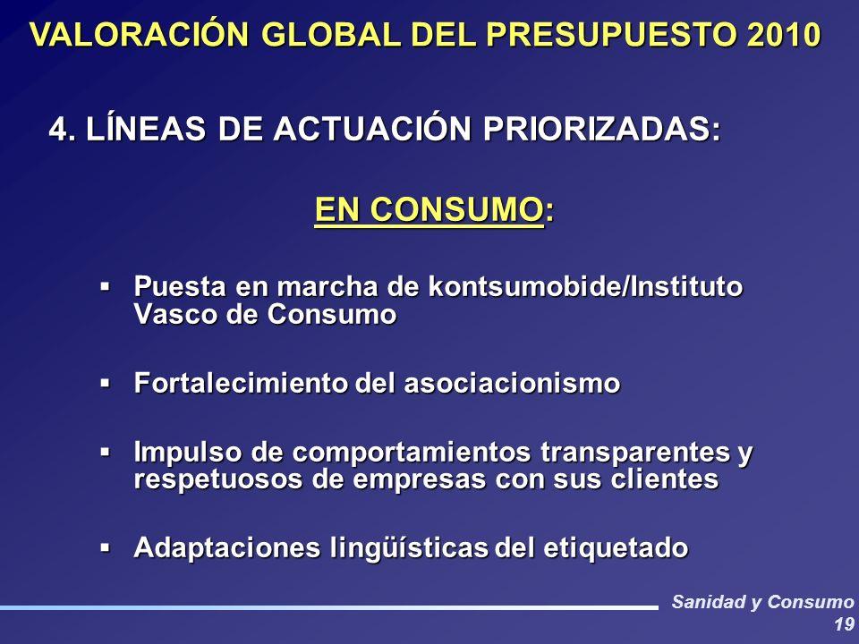 VALORACIÓN GLOBAL DEL PRESUPUESTO 2010