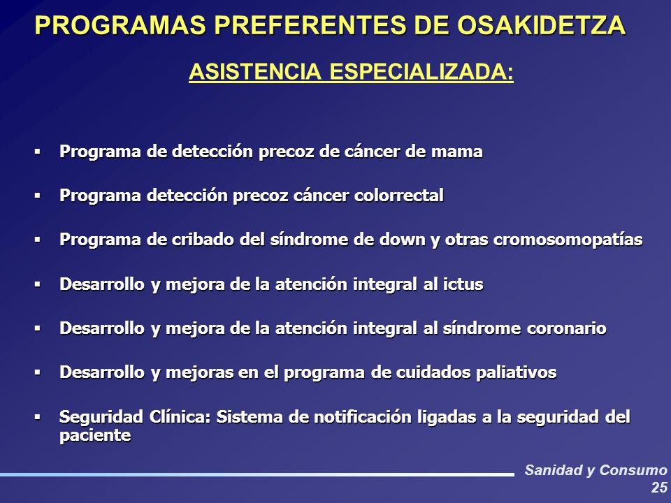 PROGRAMAS PREFERENTES DE OSAKIDETZA