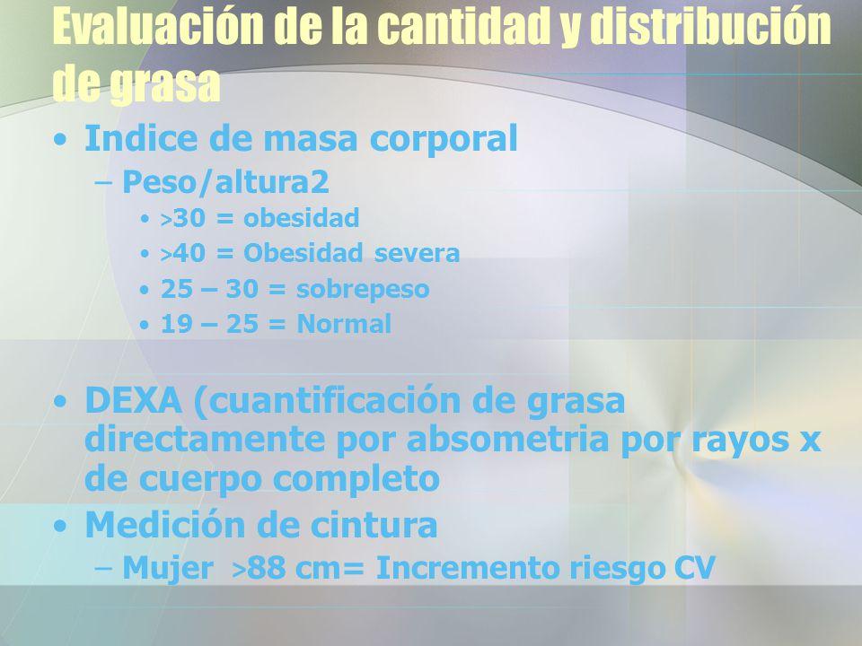 Evaluación de la cantidad y distribución de grasa