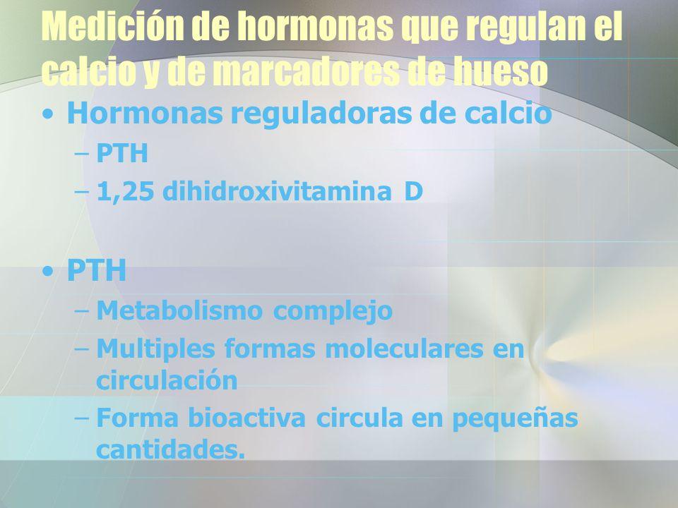 Medición de hormonas que regulan el calcio y de marcadores de hueso
