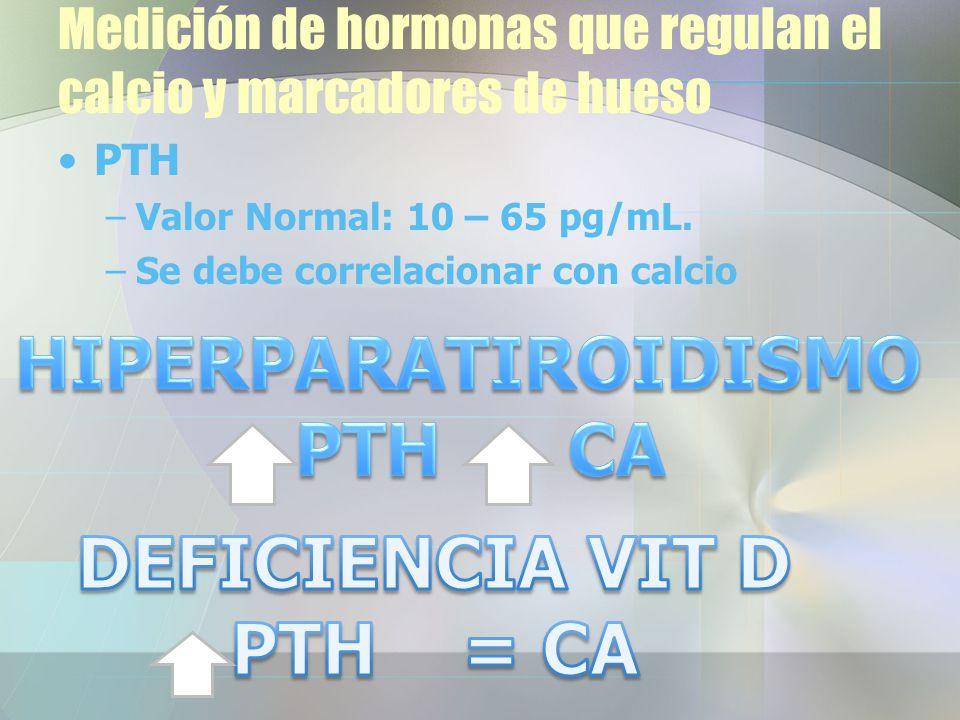 Medición de hormonas que regulan el calcio y marcadores de hueso