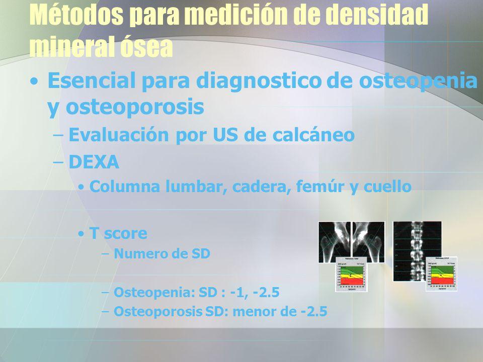 Métodos para medición de densidad mineral ósea