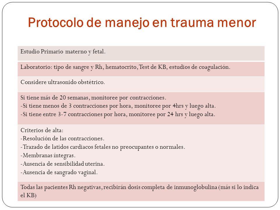 Protocolo de manejo en trauma menor