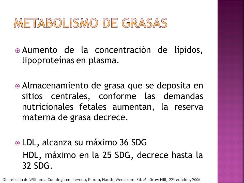 Metabolismo de grasas Aumento de la concentración de lípidos, lipoproteínas en plasma.