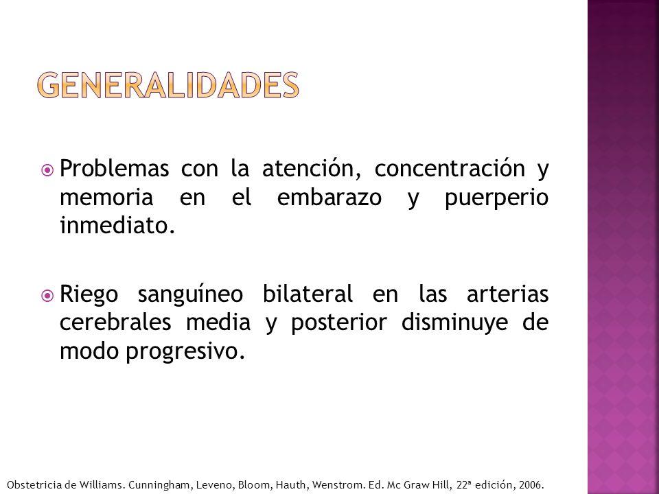 generalidades Problemas con la atención, concentración y memoria en el embarazo y puerperio inmediato.