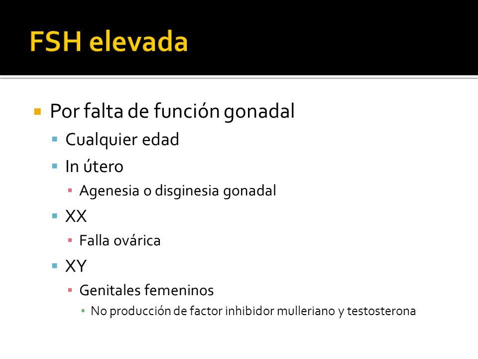 FSH elevada Por falta de función gonadal Cualquier edad In útero XX XY