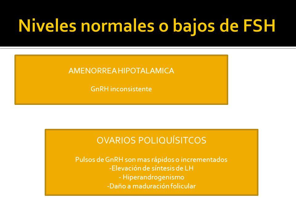 Niveles normales o bajos de FSH