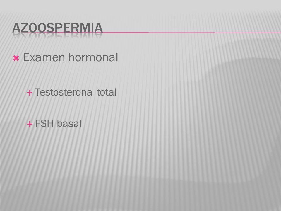 azoospermia Examen hormonal Testosterona total FSH basal