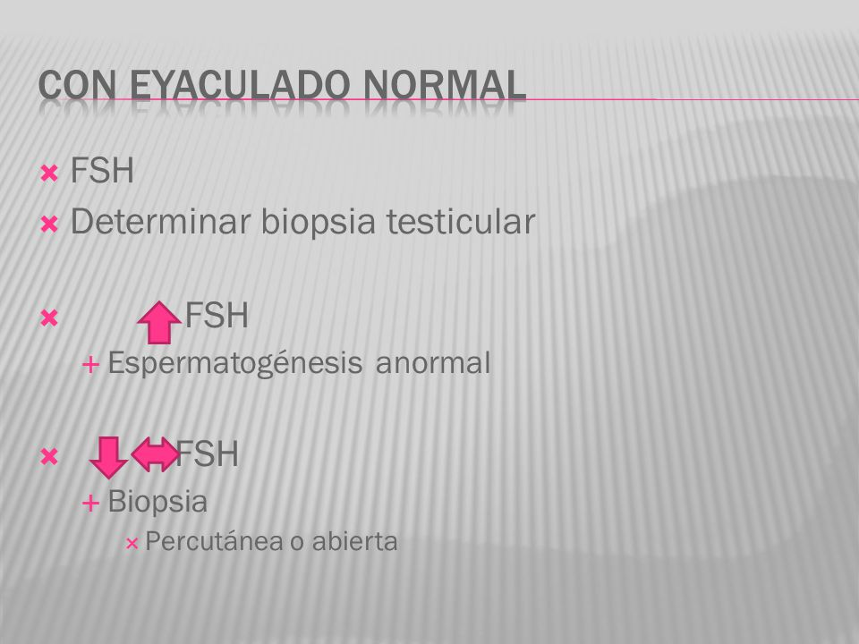 Con eyaculado normal FSH Determinar biopsia testicular
