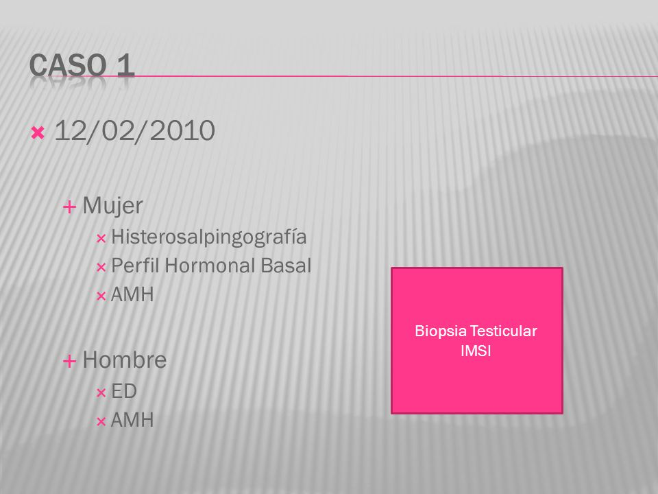Caso 1 12/02/2010 Mujer Hombre Histerosalpingografía